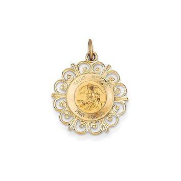 14k Yellow Gold Saint Michael Medal Charm