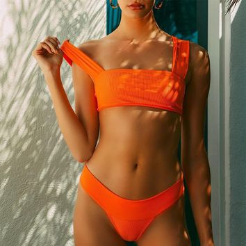 2 Piece Girls Swimsuit High Waist Orange Brazilian Bikini Push Up Sexy Bathing Suits Swimwear Women Monokini Bikinis 2019 Mujer