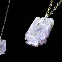 Amethyst druzy crystal gold heart chain boho long necklace