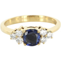Vintage Sapphire Diamond Cocktail Ring 14 Karat Gold Estate Fine Jewelry Pre Owned