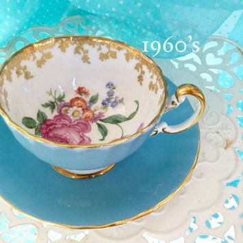 Vintage Aynsley Tea Cup, Bone China Teacup Set, Blue Tea Cup, Bridal Shower Tea Gift
