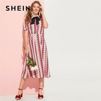 SHEIN Summer Calico Print Bow Tied Blouse Top And Skirt Set Women Bobo Casual Short Sleeve Tops Midi Skirt Matching Sets