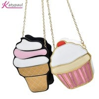 Ice Cream Soft PU Leather Shoulder Bag Cartoon and Funny Bag Children Girl Fashion Bags Small Section Bags For Teenagers Girls