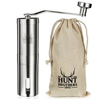 Hunt Brothers Coffee Grinder | Best Conical Burr for Precision Brewing | Consistent Grind | Top Rated Coffee Mill | Aeropress Compatible, Perfect for Traveling