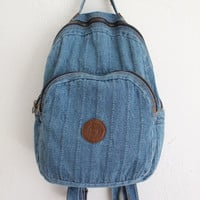 Vintage 80s Soft Blue Denim Backpack // Worn In Cotton School Bag