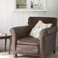 Pale and Interesting - SALE-Antique Velvet Back Leather Armchair