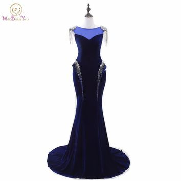 Elegant Royal Blue Evening Gowns with Beads Sequin Mermaid vestido manga longa Velvet Lace Up back Party Gown Formal Dress Stock