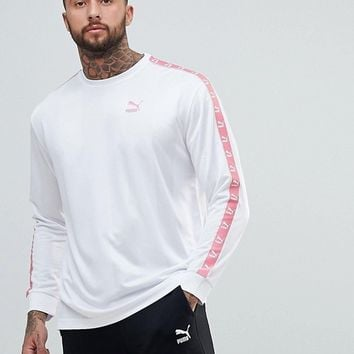 Puma Long Sleeve Tape Football Top In White Exclusive To ASOS at asos.com