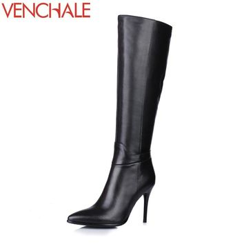 VENCHALE 2017 knee-high boots pointed toe high quality thin heels side zipper elegant concise princess women boots in winter