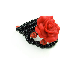 Red and Black Day of The Dead Pinup Bracelet