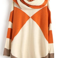 Rhombus Pattern Long Sleeve Round Neck Sweater,Cheap in Wendybox.com