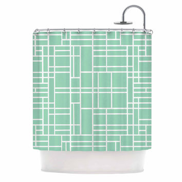 "Project M ""Map Outline Mint"" Geometric Lines Shower Curtain"