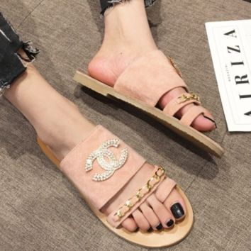CHANEL Summer new belt buckle word buckle flat diamond slippers sandals women Pink