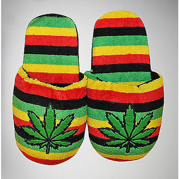 Rasta Plush Adult Unisex Slippers - Spencer's