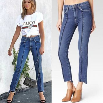 Women's Fashion Summer Patchwork Irregular Jeans [10399193805]