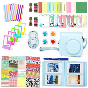Fujifilm Instax Mini 8 Accessories, Leebotree 10 in 1 Camera Bundles Set Include Mini 8 Case/Album/Selfie Lens/Colored Filters/Wall Hang Frames/Film Frames/Border Stickers/Corner Stickers/Pen(Blue)