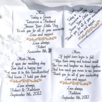 Embroidered Wedding handkerchiefs Mother & Father of the Bride In-Law Parents Gifts Handkerchief By Canyon Embroidery