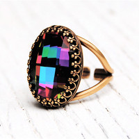 Dark Rainbow Crystal Cocktail Ring Adjustable Crown Ring Swarovski Crystal Jewel Tone Rainbow Checkerboard Cocktail Ring Mashugana