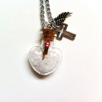 TINY Supernatural Salt and Burn Heart Necklace