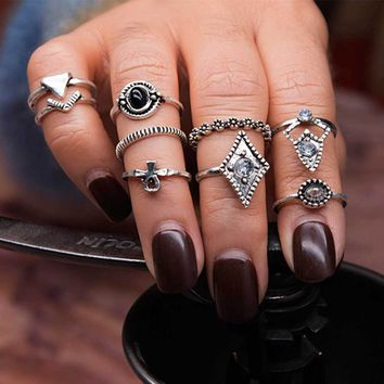 9pcs/Set Wedding Jewelry Bohemian Carving Pattern Vintage Crystal Geometric Triangle Charm Ring For Women