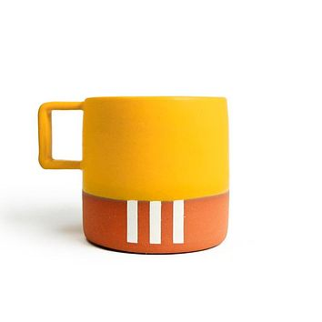 White Stripe Mug with Mustard