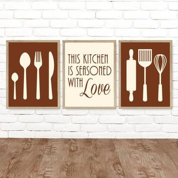 KITCHEN Wall Art, Canvas or Prints, Dining Room Kitchen Pictures, Kitchen Utensils Quote Wall Decor, Kitchen Artwork Seasoned LOVE, Set of 3