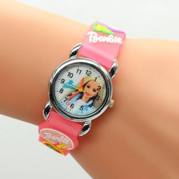 3D Cartoon Lovely Kids Girls Boys Children Students Quartz Wrist Watch Very Popular watches Barbie style