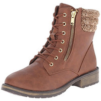 Steve Madden Girls Jeston Faux Leather Lace-Up Boot