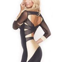 Q1001 Quontum Black/Gold Mesh Strap Backless Dress with 3/4