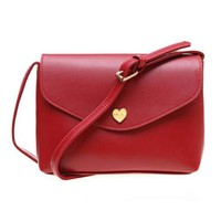 Red Synthetic Leather heart button fashion gift woman envelope clutch handbag