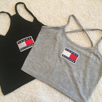 Tommy Hilfiger grey crop cropped tank top tshirt cotton vest