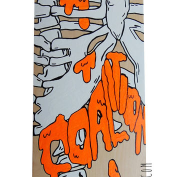 Hand Painted Skateboard Deck Art Ribcage Design on Maple Wood edgy goth custom neon