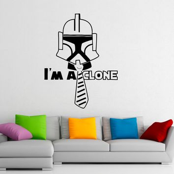 Star Wars Wall Decal Vinyl Stickers Stormtrooper I'm A Clone Home Interior Art Design Murals Bedroom Wall Decor Made in US