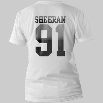 Ed Sheeran 91  date of birth Printed Back Logo Black and White Shirt Men or Women Shirt Unisex Size