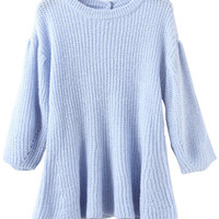 Blue Ruched Knitted Sweater
