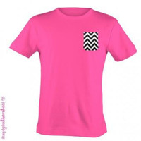 Simply Southern Funny Hot Pink Black Chevron Pocket Bright T Shirt