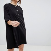 ASOS Super Oversized T-Shirt Dress with Popper Placket at asos.com
