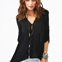 Draped Pocket Blouse - Black