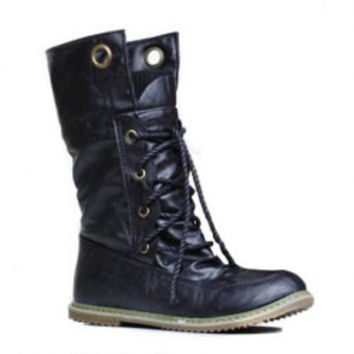 Stylish Women's Sweater Boots With Round Toe and Lace-Up Design