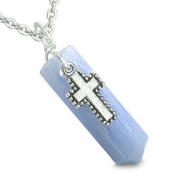 Amulet Crystal Point Wand Holy Cross Charm Blue Lace Agate Pendant 18 Inch Necklace