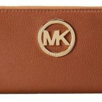 New Michael Kors Fulton Zip Around Continental Wallet Luggage Gold MK logo