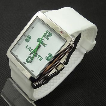 Lacoste tide brand fashion men and women stylish exquisite watches F-SBHY-WSL White + silver case + green number dial
