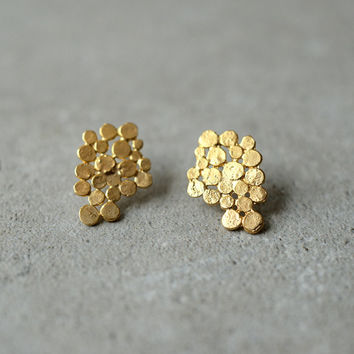 Gold Cluster earrings, bunch earrings, Christmas in July, unique, bridal earrings, bunch posts, Glamorous, designer jewelry, gift for woman