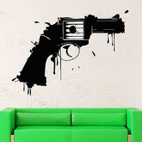 Wall Stickers Vinyl Decal Revolver Gun Weapon Grunge Room Decor Unique Gift (ig1789)