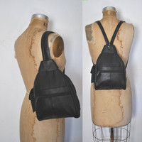 Backpack Bookbag Bag / Black Leather sling Purse