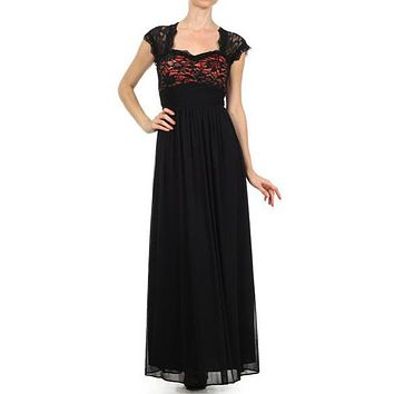 Sweetheart Neck Lace Bodice Black/Red Floor Length Dress