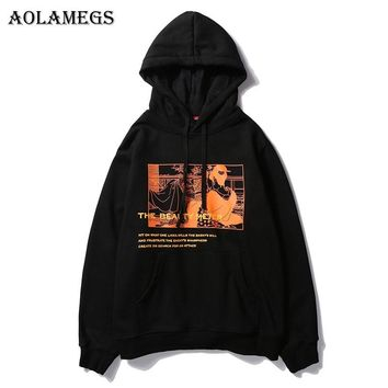 Aolamegs Hoodies Men Japanese Printed Hood High Street Pullover Sweatshirt Men Fashion Hip Hop Streetwear Hoodie Autumn Winter