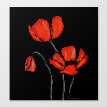 Red Poppies On Black by Sharon Cummings Canvas Print by Sharon Cummings