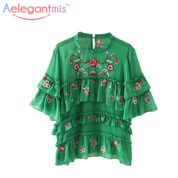 Aelegantmis Green Summer Tops Floral Embroidery Blouse Women 2017 Fashion Half Sleeve Ruffles Layered Chiffon Shirt Embroidered