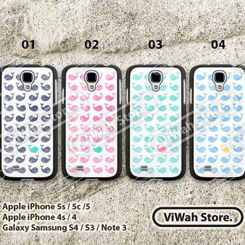 Mint Whale galaxy s4, samsung galaxy s3 s4, cat galaxy s4 case,samsung cover skin, Cute Whale Pattern, personalized